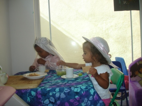 Grumpy Princess and Faith having a tea party!