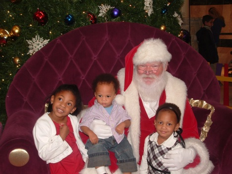 Kaleah, DJ and Kiara with Santa
