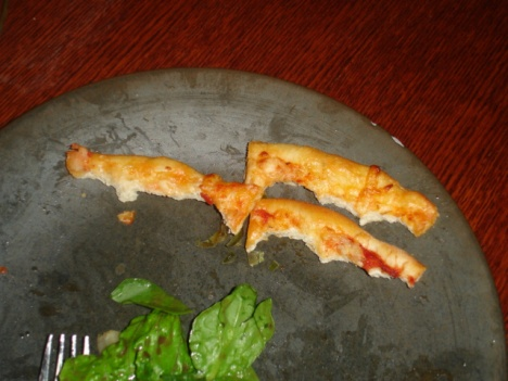 We had pizza and it felt so weird to not have Sterling to give the crust to. :-(